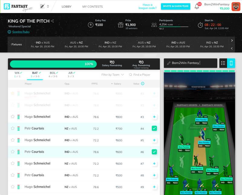 Howzat - A fantasy cricket websitedesigned & developed by Vinfotech