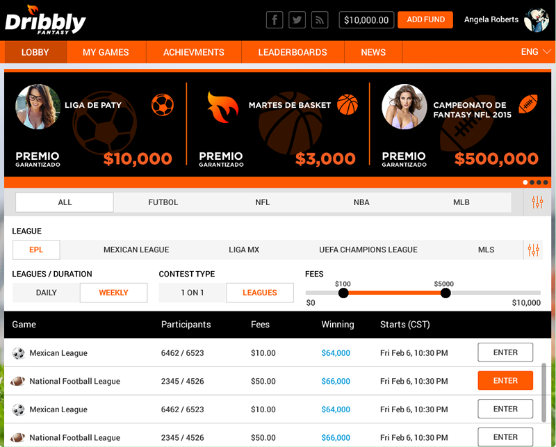 Multilingual fantasy sports website design for Mexico by Vinfotech
