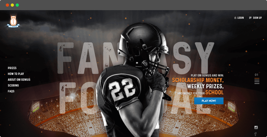 Fantasy Football Web Design & development in the US by Vinfotech