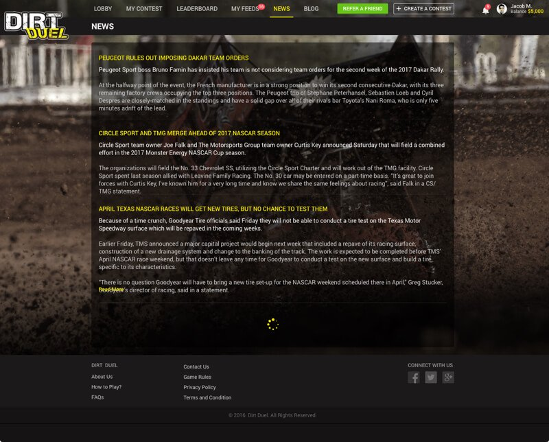 America Dirt Racing Web Design