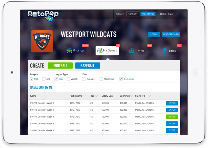 Baseball fantasy sports website design & development by Vinfotech
