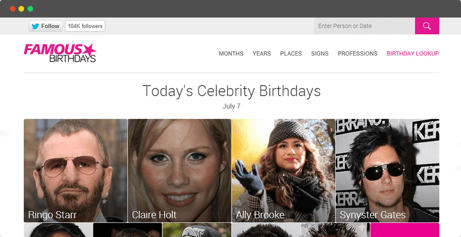 Famous Birthdays - A webportal for celebrities birthdays