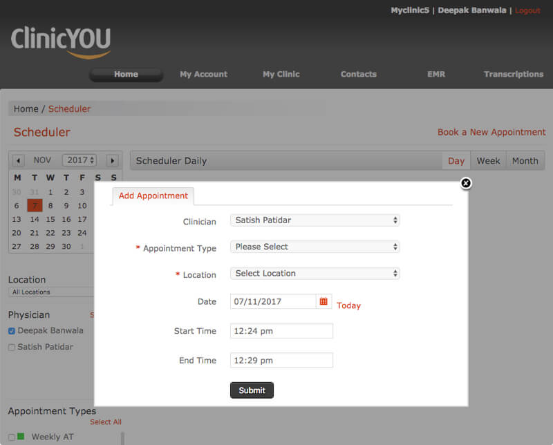 Clinic You EMR Software Solutions – Scheduling by Vinfotech