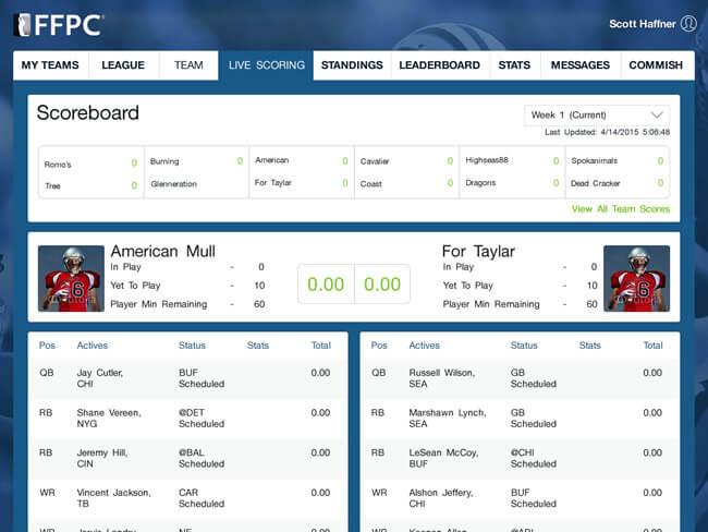 Creating a season long fantasy football website & mobile app by Vinfotech