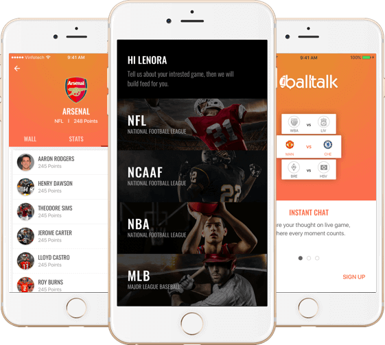 Custom Social Media App Design & Development for Sports Fans by Vinfotech