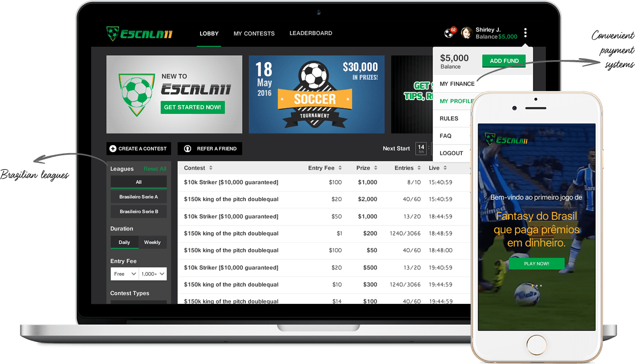 daily fantasy football software development for brazil cup & brazilian series a by Vinfotech