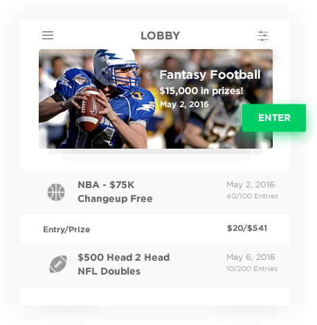 daily fantasy football software with comprehensive lobby by Vinfotech