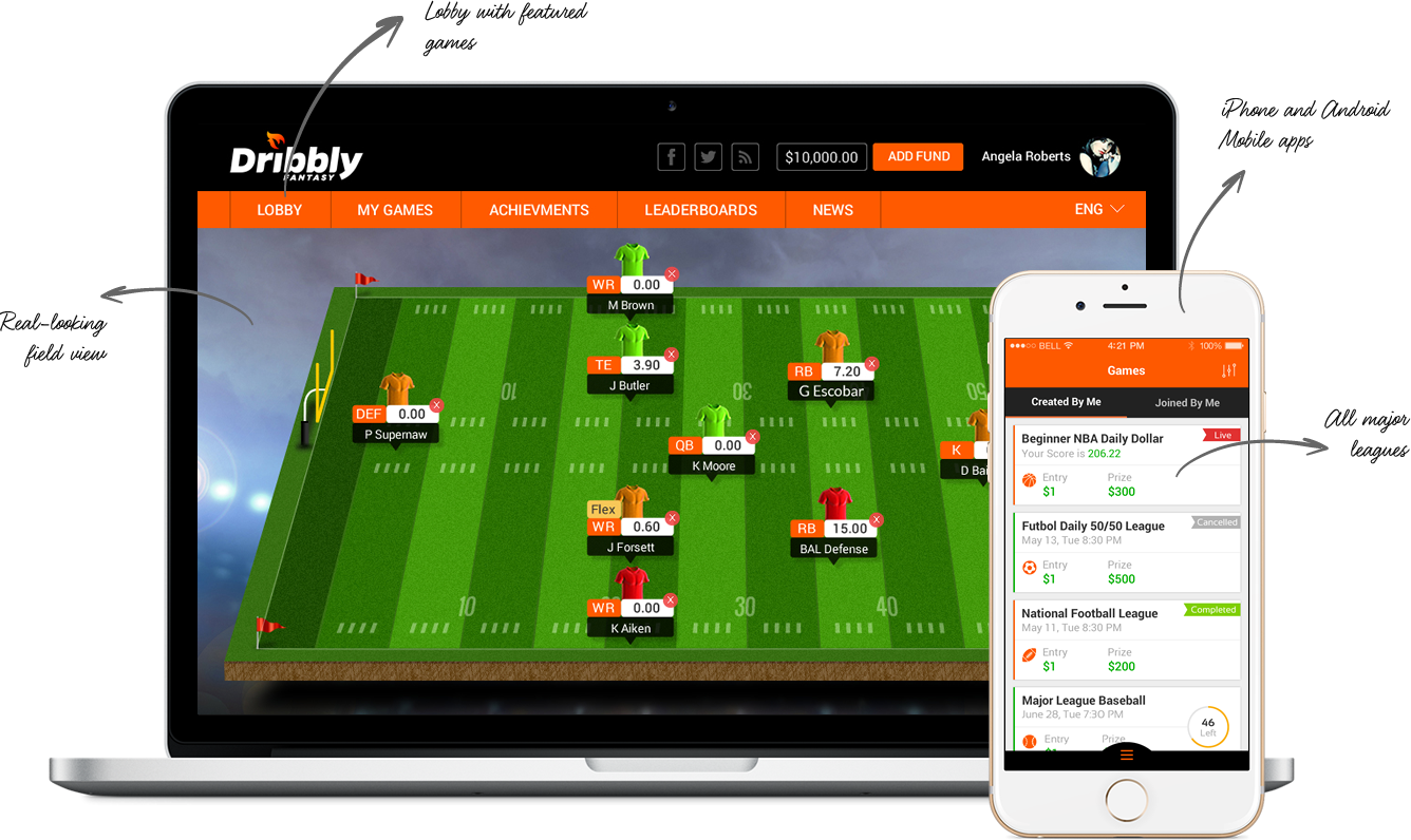 daily fantasy sports software for NFL, Mx League, Champions League, La Liga, Premier League, NBA and MLB by Vinfotech