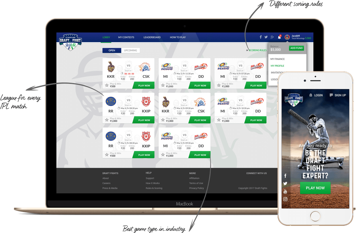 Daily fantasy sports software for cricket league IPL by Vinfotech