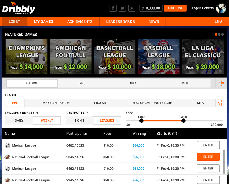 daily fantasy sports software for football, basketball, soccer & baseball by Vinfotech