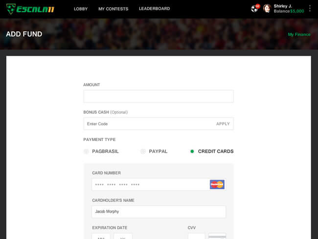 daily football fantasy web design for brazil by Vinfotech