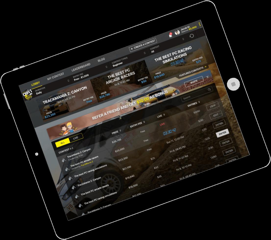 Dirt Duel - Fantasy Sports Application Development for Dirt Car Racing by Vinfotech