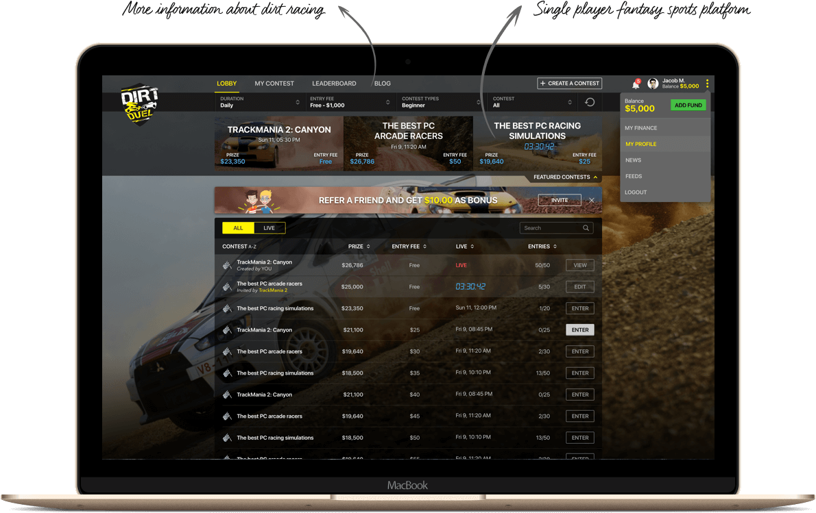 Dirt Racing Focused Fantasy Platform design