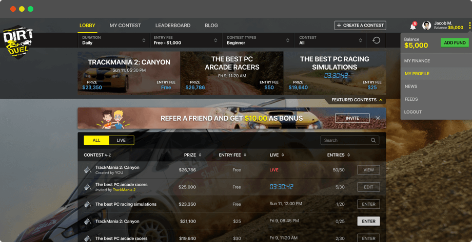 Fantasy Dirt Racing Web Design for Americans