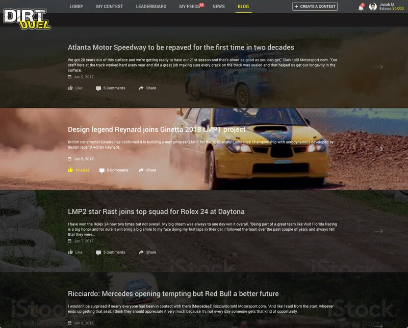 Fantasy Dirt Racing Web Development