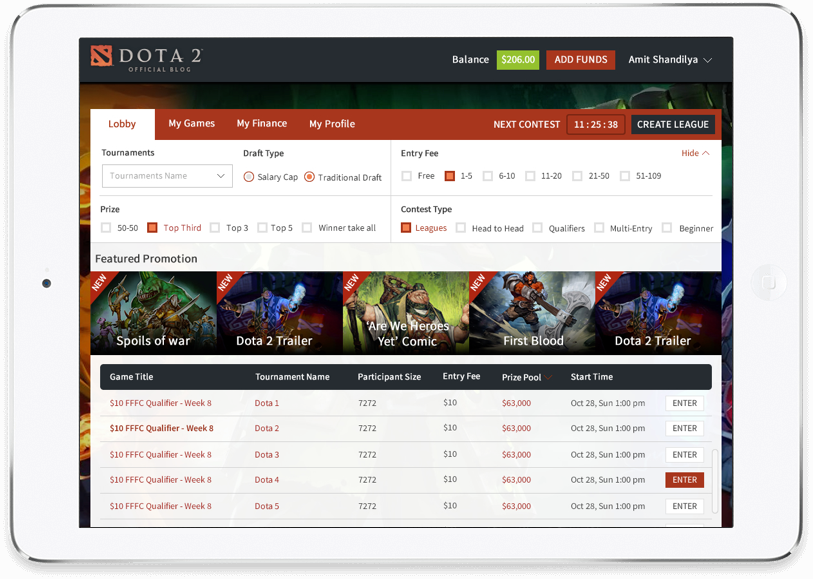 Daily fantasy e-sports website design & development by Vinfotech