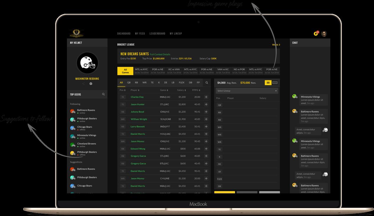 Fantasy football standard season-long web design and app development by Vinfotech