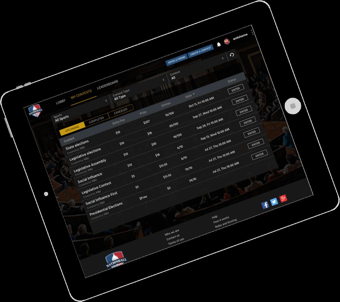 fantasy politics website & app development by Vinfotech