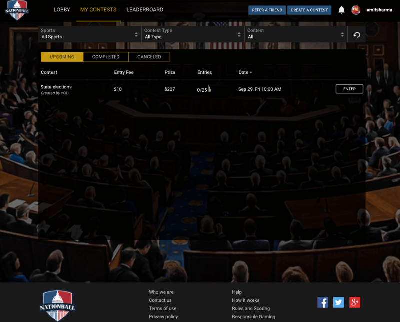 Fantasy politics Website Design & App Development for American Users by Vinfotech