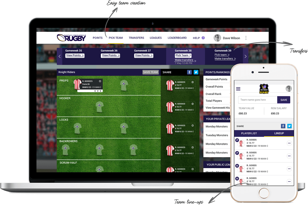 Fantasy rugby application for UK players