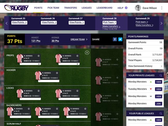 Fantasy rugby platform application for British fans