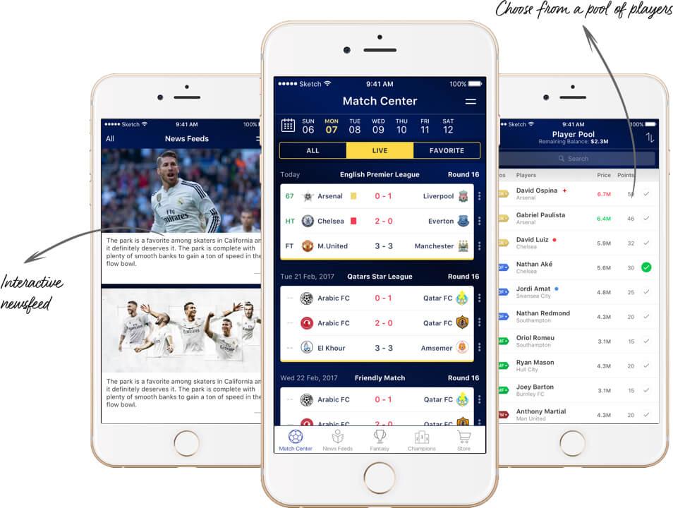 Fantasy Soccer Players Web Design by Vinfotech