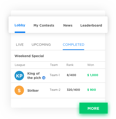 Feature rich fantasy sports website/mobile app design and developed by Vinfotech