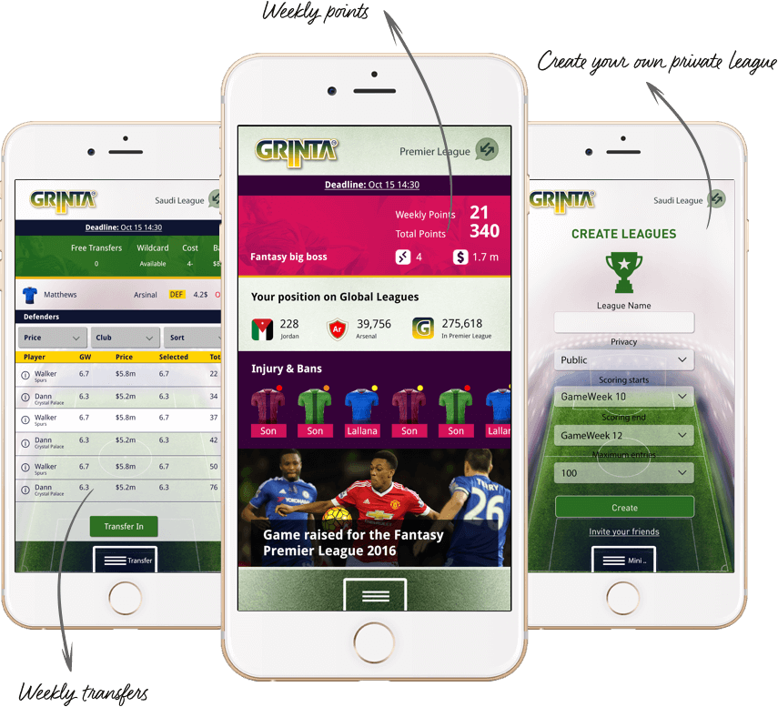 Football fantasy web design for middle east by vinfotech