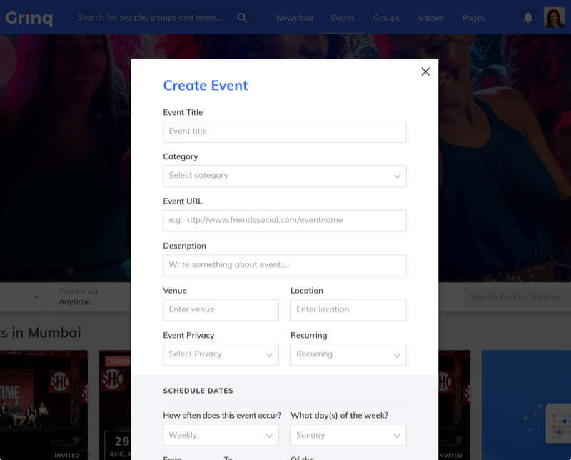Grinq – Social Networking Application Design and Development for Events by Vinfotech