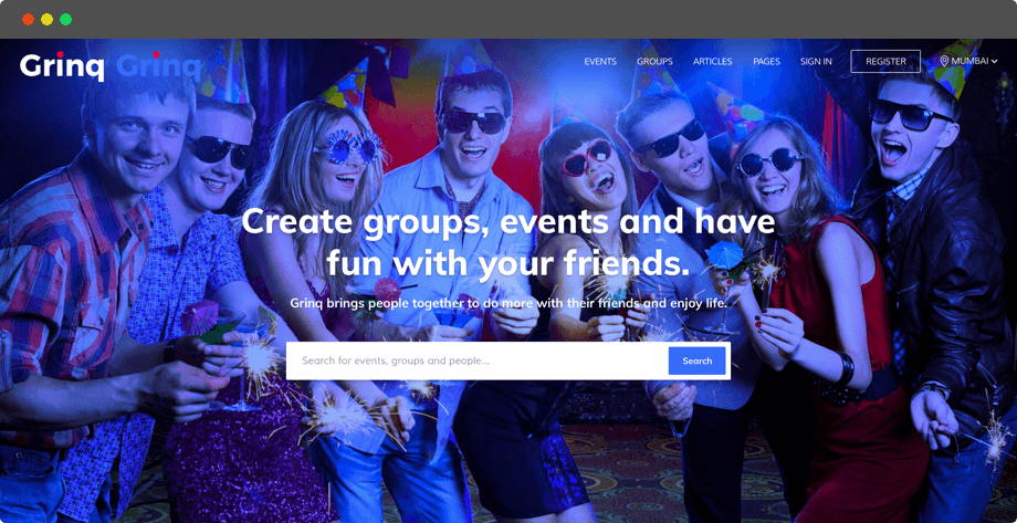 Grinq – Social Networking Website Design and Development for Events by Vinfotech