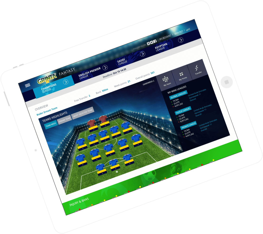 Grinta – Season Long Fantasy Football Software by Vinfotech