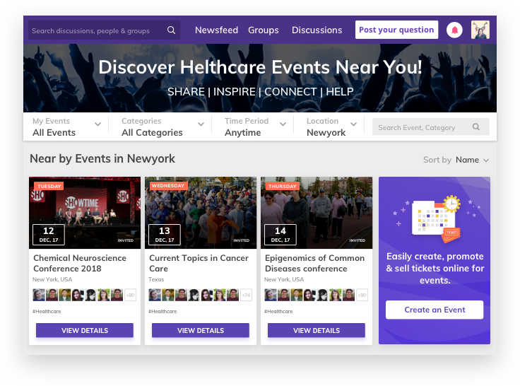 Organize and Promote Events - Healthcare communities by Vinfotech