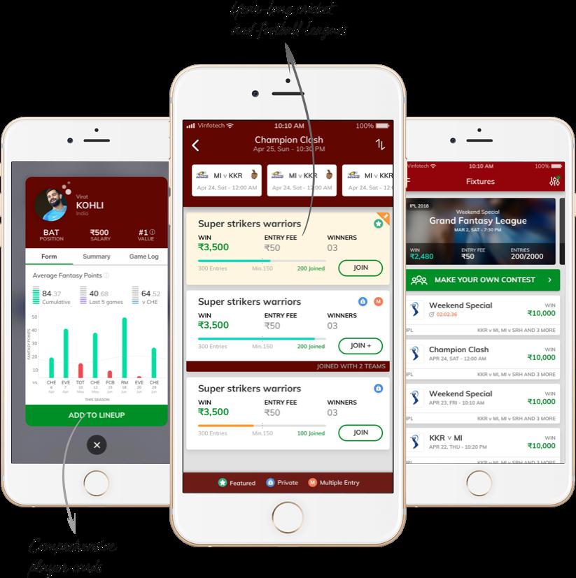 Howzat - A fantasy cricket & football platform developed by Vinfotech