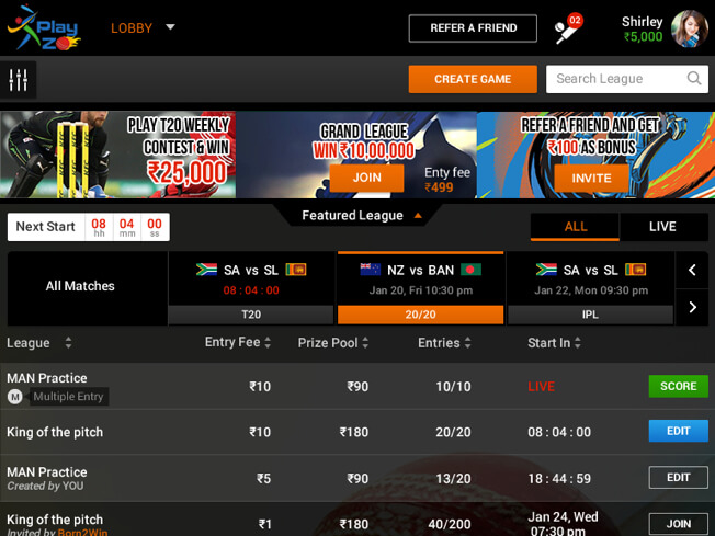 leading Indian daily fantasy cricket software for ipl by Vinfotech