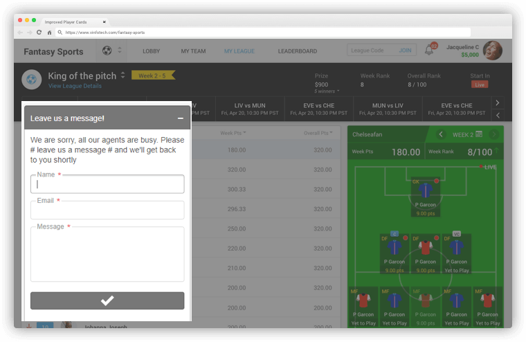 Live Chat – vFantasy Fantasy Sports Software Updates by Vinfotech