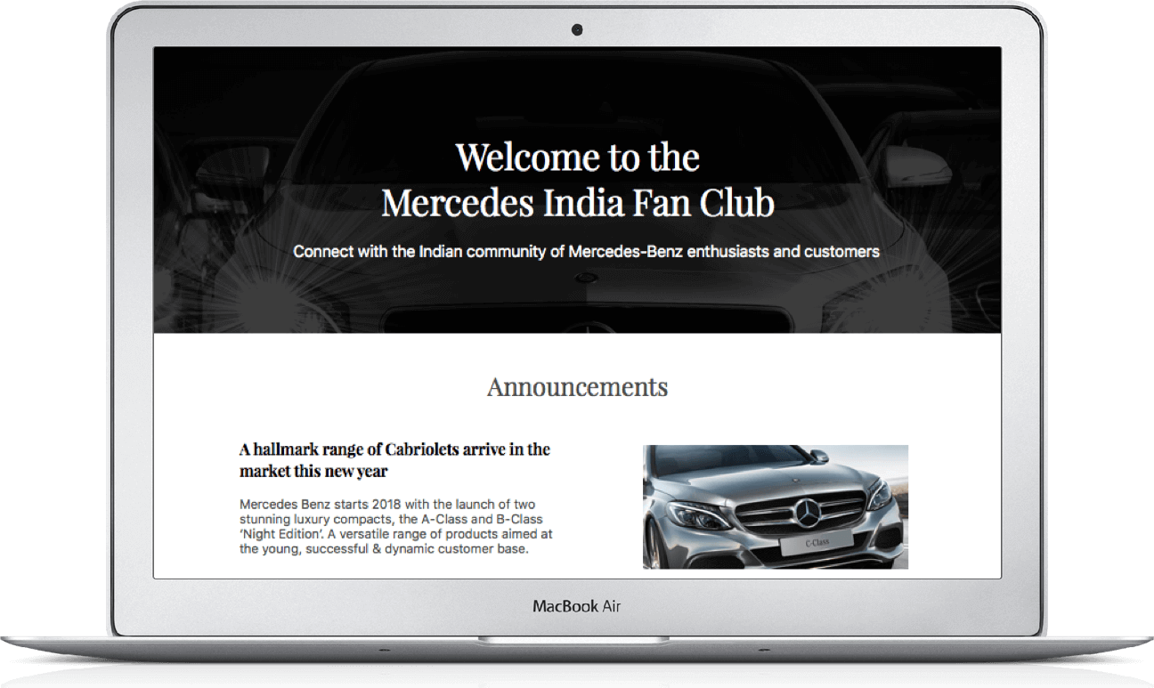 Mercedes Benz Indian Fan Club Social Community by Vinfotech