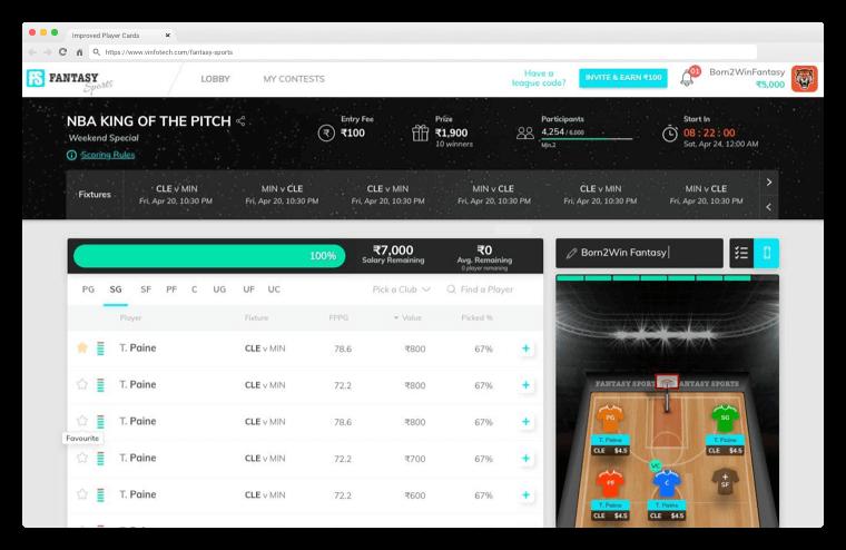 NBA Integrated – vFantasy Fantasy Sports Software Updates by Vinfotech