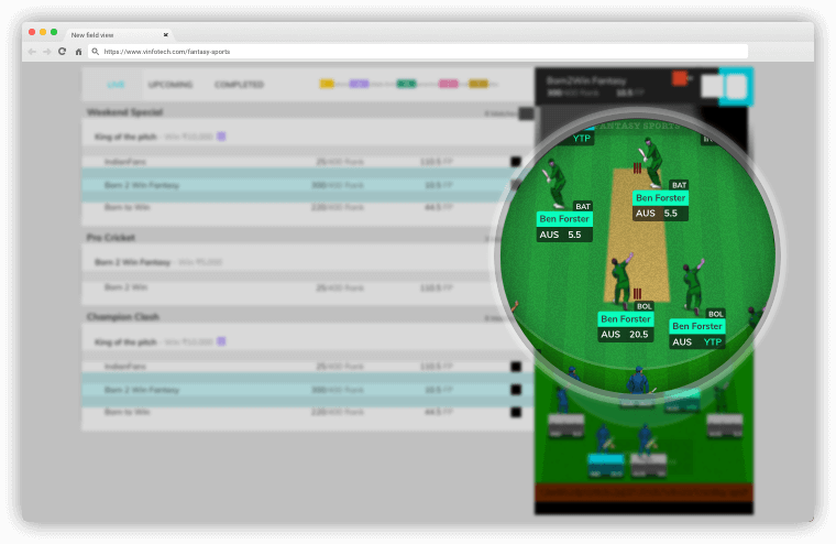 New Lineup View – vFantasy Fantasy Sports Software Updates by Vinfotech