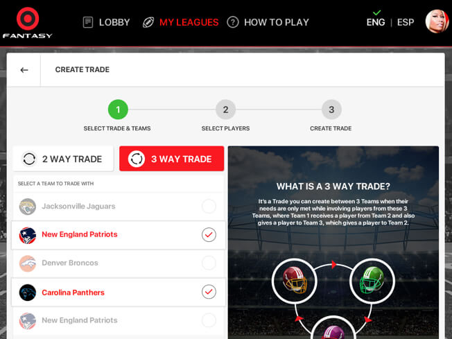 NFL season long fantasy football software with player trading by Vinfotech