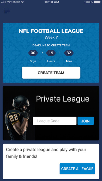 play in public and private both the leagues by vinfotech