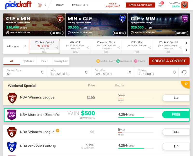 Salary cap contests for DFS by vinfotech