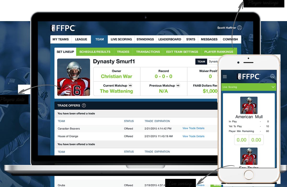 Season long fantasy football software for american football by Vinfotech