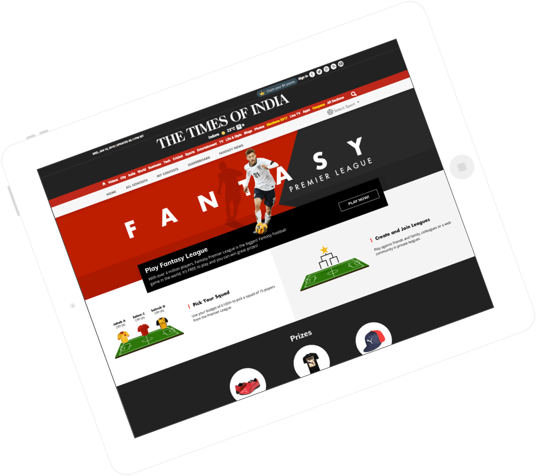 Times of India – Customer Engagement Through Fantasy Sports by Vinfotech