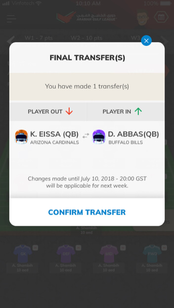 transfer your players using wildcard by vinfotech