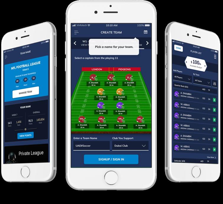 Create a fantasy football website design by vinfotech