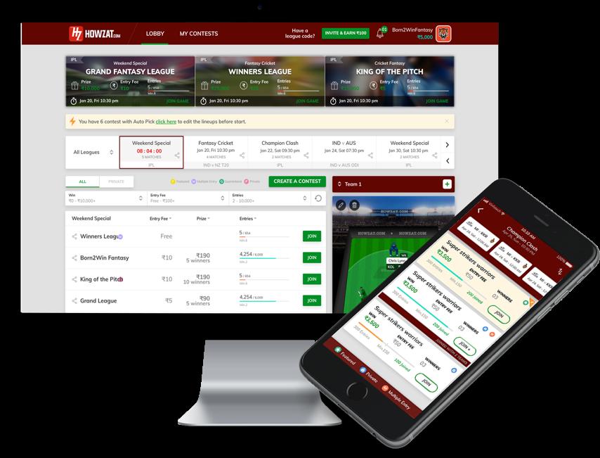 Howzat - fantasy cricket software developed by Vinfotech
